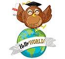 """42""""PKG GRA HELLO WORLD OWL MULTI-BALLOON"""