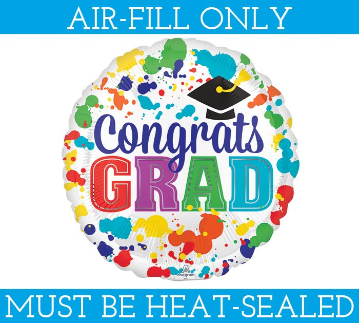 "9"" CONGRATS GRAD MUST FILL WITH AIR ONLY"