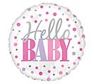 "18""PKG HELLO BABY PINK DOTS"