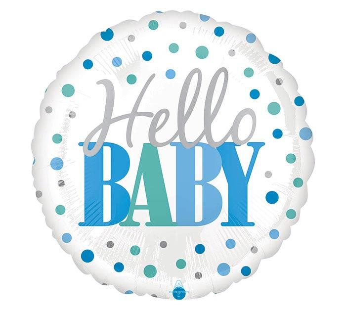 "18""PKG HELLO BABY BLUE DOTS"