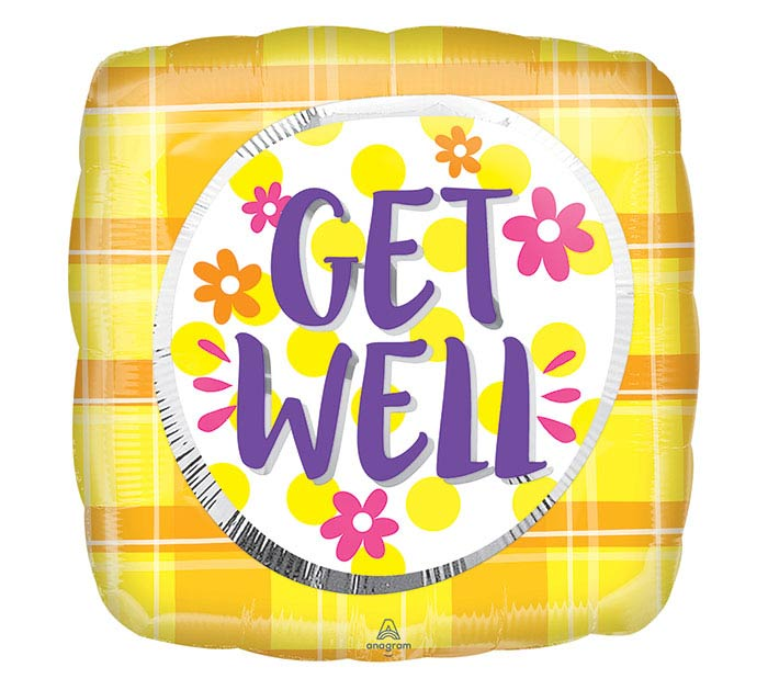 "18""PKG GET WELL PLAID SUNSHINE"