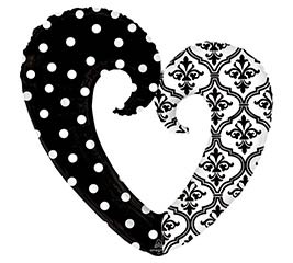 "32""PKG WEDDING DAMASK  DOTS HEART"