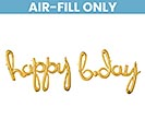 "76""PKG HAPPY BDAY GOLD SCRIPT PHRASE"