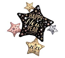 "35""PKG 2019 SATIN NEW YEAR CLUSTER"