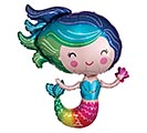 "30""PKG COLORFUL MERMAID SHAPE BALLOON"