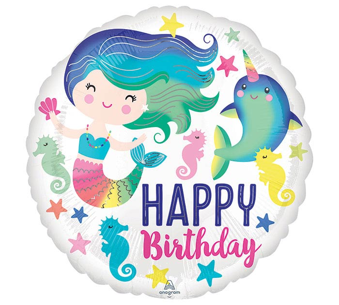 "17""PKG SEALIFE BIRTHDAY MERMAID BALLOON"