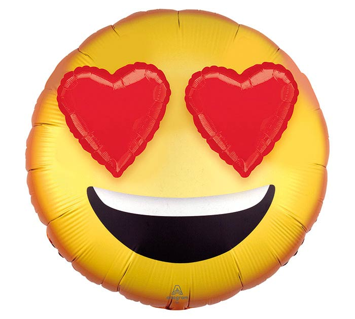 """28""""PKG 3D EMOTICON WITH HEART EYES"""