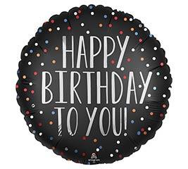 "18""PKG HAPPY BIRTHDAY TO YOU SATIN DOTS"