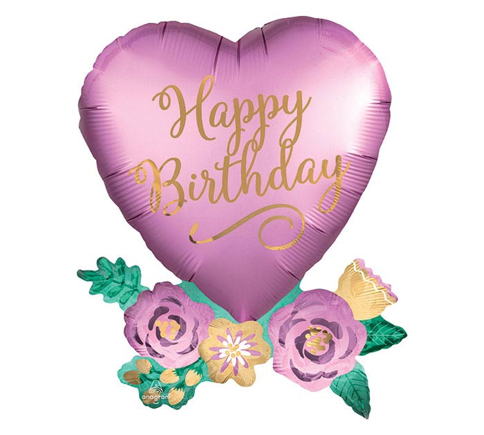 "30""PKG BIRTHDAY SATIN HEART WITH FLOWERS"