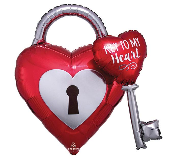 "32""PKG KEY TO MY HEART MULTI-BALLOON"