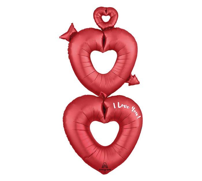 "63""PKG I LOVE YOU SATIN OPEN HEARTS"