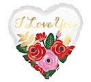 "17"" I LOVE YOU ROSE BOUQUET HEART"