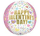 "16"" VALENTINES ORBZ PASTEL HEARTS/DOTS"