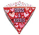 "17""PKG DIAMONDZ HUGS, KISSES,  HEARTS"
