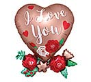 "30""PKG I LOVE YOU SATIN HEART W/ FLOWERS"