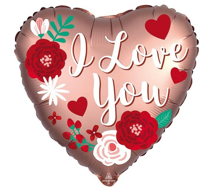 "18"" I LOVE YOU SATIN ROSE COPPER LOVE"