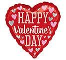 """17"""" VALENTINE PINK  SILVER HEARTS"""