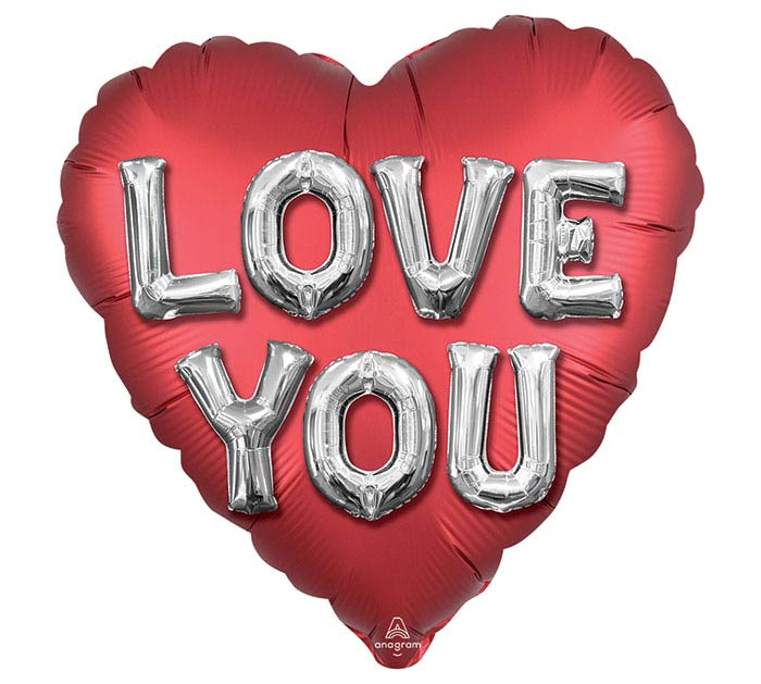 """18"""" SATIN LOVE YOU BALLOON LETTERS"""