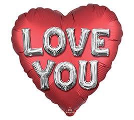"""28""""PKG SATIN LOVE YOU JUMBO HEART"""