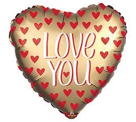 """18"""" SATIN LOVE YOU GOLD HEART"""
