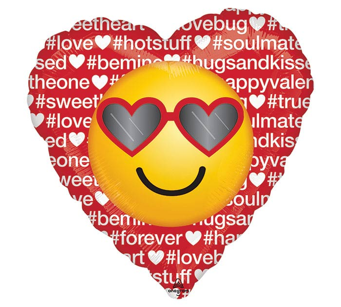 "17"" HASHTAG LOVE EMOTICON HEART"
