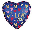 "18""PKG SATIN NAVY  GOLD LOVE HEART"