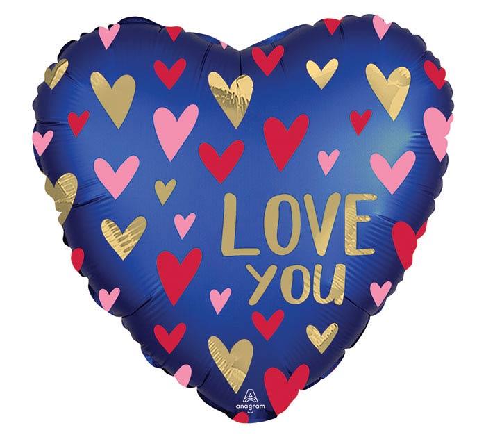 """18""""PKG SATIN NAVY  GOLD LOVE HEART"""