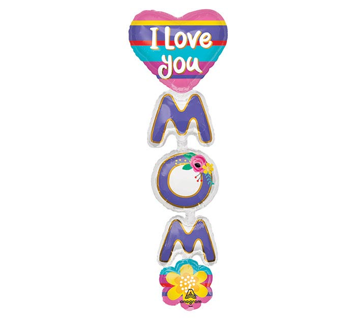 "66""PKG I LOVE YOU MOM GIANT MULTI-BALLOO"