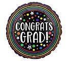 "17"" CONGRATS GRAD COLORFUL CIRCLES"