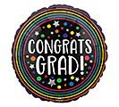 "9""INFLATED CONGRATS GRAD COLORFUL CIRCLE"