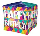 "15""PKG CUBEZ BIRTHDAY COLORFUL TRIANGLES"