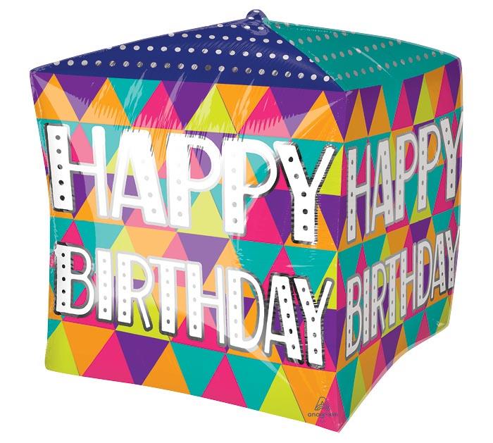 "15""PKG CUBEZ BIRTHDAY COLORFUL TRIANGLES"