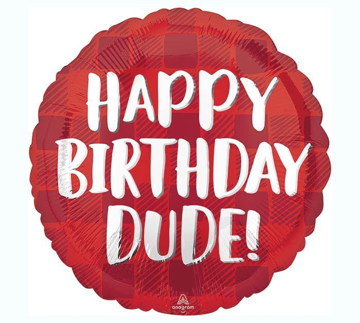 "17""PKG HAPPY BIRTHDAY DUDE PLAID"