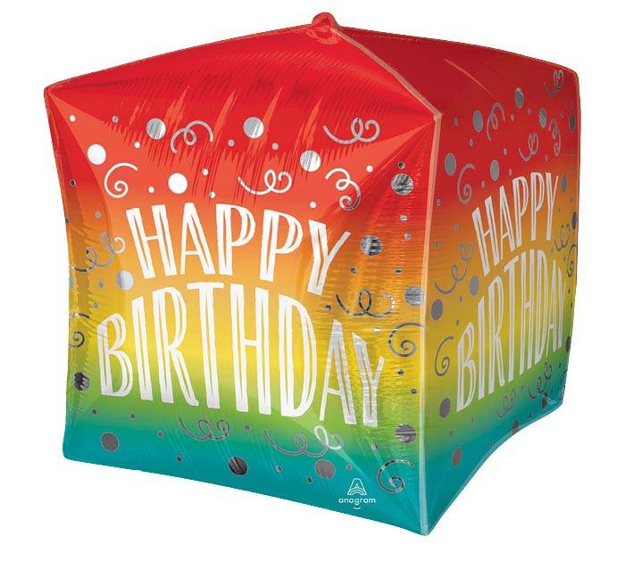"""15""""PKG BIRTHDAY GRADIENT SWIRLS CUBEZ"""