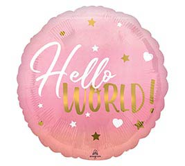 "17""PKG PINK BABY GIRL HELLO WORLD"