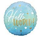 """17""""PKG BLUE BABY BOY HELLO WORLD"""