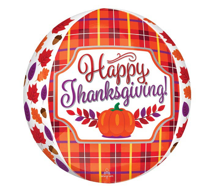 "16""PKG ORBZ PERFECTLY PLAID THANKSGIVING"