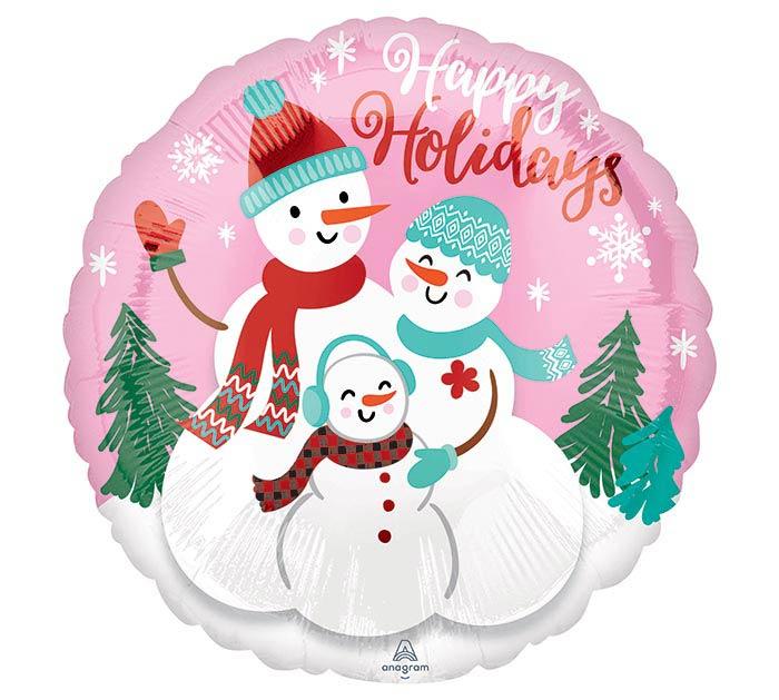 """17"""" HAPPY HOLIDAYS SNOW FAMILY"""