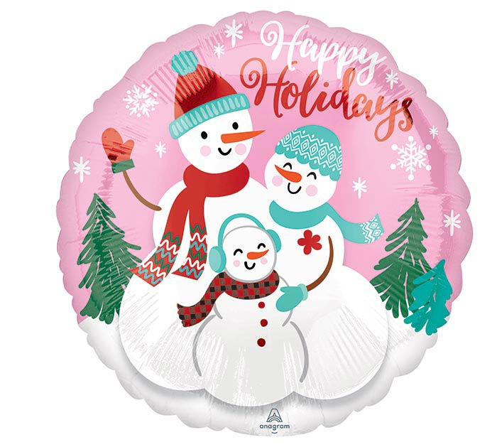 """9""""INFLATED HAPPY HOLIDAYS SNOW FAMILY"""