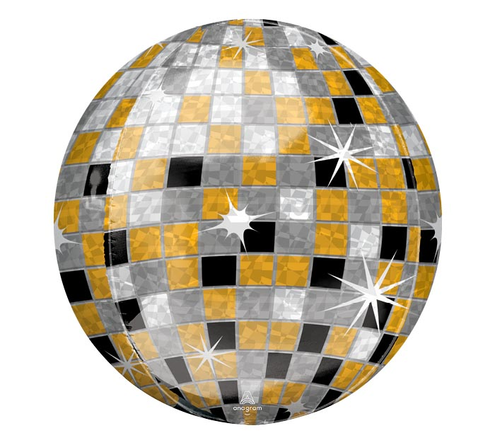"16""PKG ORBZ GOLD SILVER BLACK DISCO BALL"