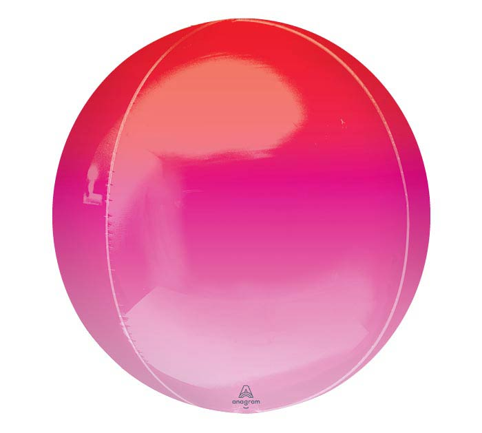 """16""""PKG RED  PINK OMBRE ORBZ BALLOON"""