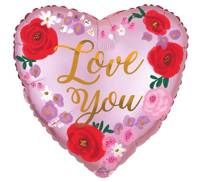 "18"" SATIN LOVE YOU PAINTED FLORAL HEART"