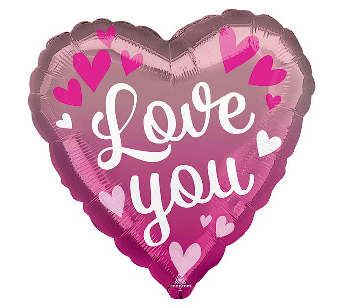 """17"""" LOVE YOU PINK OMBRE HEART"""