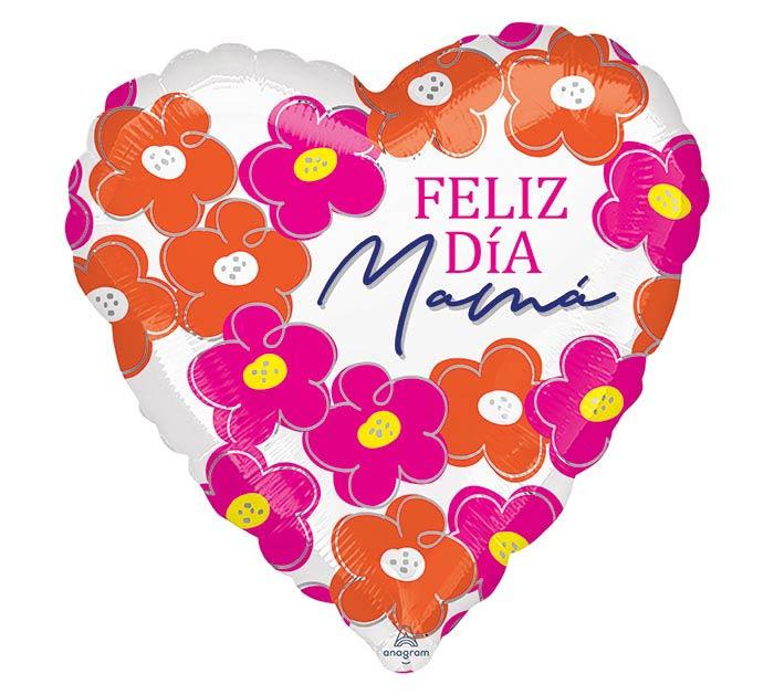 "17"" FELIZ DIA MAMA FLOWERS  OMBRE HEART"