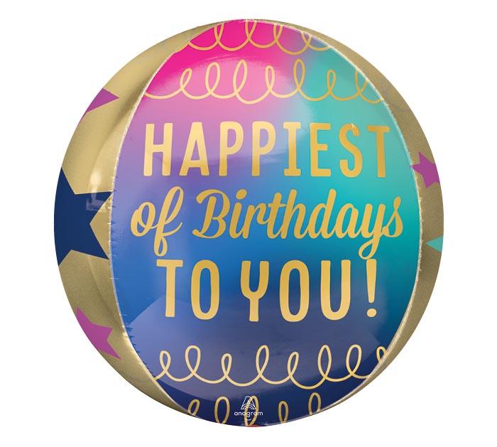 """16""""PKG ORBZ HAPPIEST BIRTHDAYS TO YOU"""
