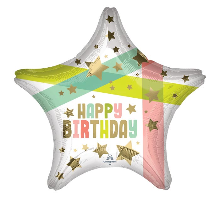 "19""PKG BIRTHDAY GOLD STARS AND COLORS"