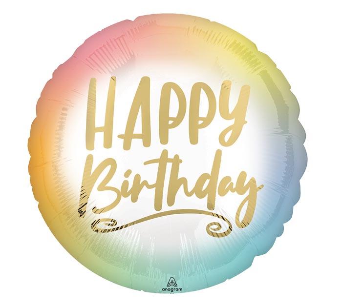 """17""""PKG OMBRE  GOLD HAPPY BIRTHDAY"""