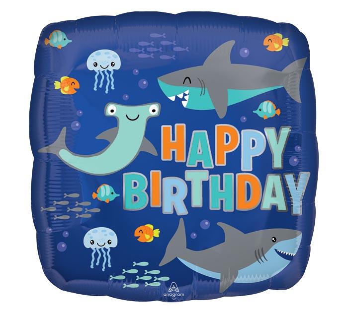"17""PKG BIRTHDAY SHARKS SQUARE"