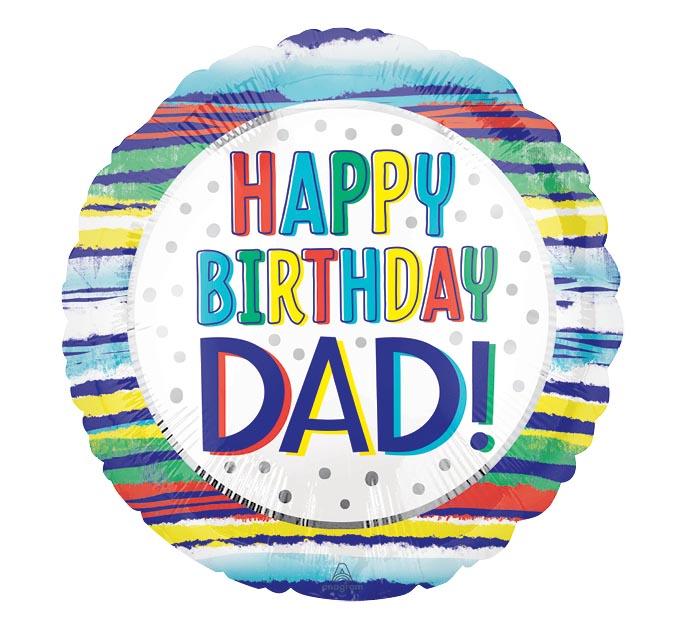 """17""""PKG HAPPY BIRTHDAY DAD STRIPES"""