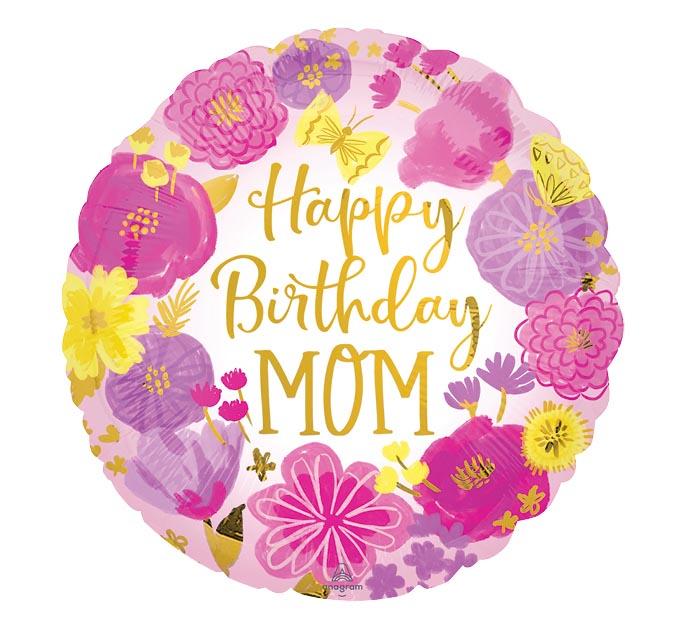 "17""PKG HAPPY BIRTHDAY MOM PAINTED FLOWER"